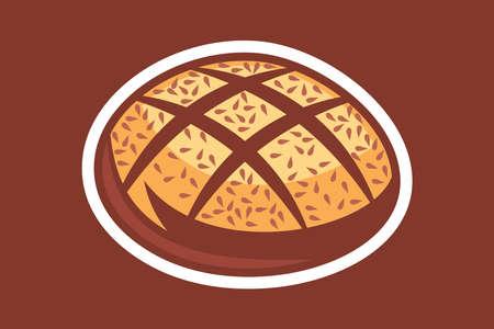 Traditional Bauernbrot (German Farmer's Bread) icon vector illustration. 版權商用圖片 - 167158846