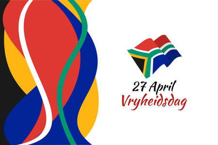 Translation: April 27. Freedom Day. Freedom day (Vryheidsdag) National day of South Africa Vector illustration. Suitable for greeting card, poster and banner. 版權商用圖片 - 167156724