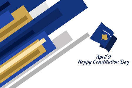 April 9, Happy Constitution Day of Kosovo vector illustration. Suitable for greeting card, poster and banner 版權商用圖片 - 167156725