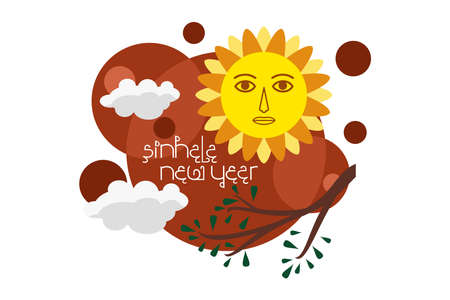 Traditional Sinhala Hindu New Year vector illustration.  Suitable for greeting card, poster and banner. 向量圖像