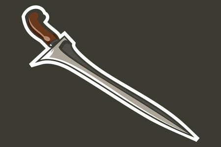 Traditional Javanese Dagger Kris or keris vector illustration. simple weapon icon. 向量圖像