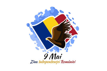 Translation: May 9, Independence Day of Romania. National Day of Romania Vector Illustration. Suitable for greeting card, poster and banner. 版權商用圖片 - 167405495