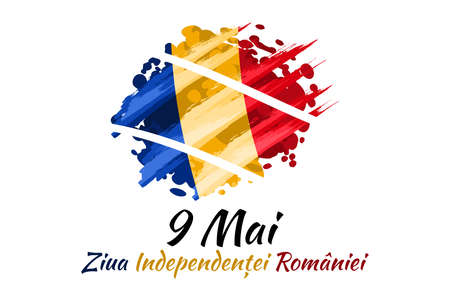 Translation: May 9, Independence Day of Romania. National Day of Romania Vector Illustration. Suitable for greeting card, poster and banner. 版權商用圖片 - 167405893