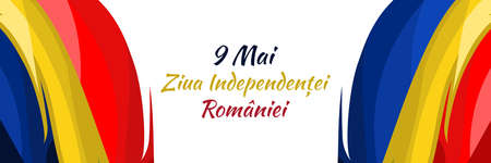 Translation: May 9, Independence Day of Romania. National Day of Romania Vector Illustration. Suitable for greeting card, poster and banner. 版權商用圖片 - 167468831
