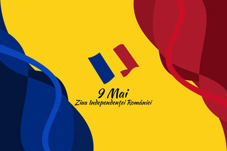 Translation: May 9, Independence Day of Romania. National Day of Romania Vector Illustration. Suitable for greeting card, poster and banner.
