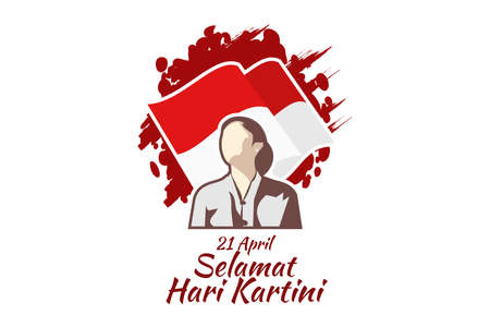 Translation: April 21, Happy Kartini Day. R A Kartini the heroes of women education and human right in Indonesia Vector Illustration. Suitable for greeting card, poster and banner.
