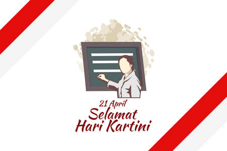 Translation: April 21, Happy Kartini Day. R A Kartini the heroes of women education and human right in Indonesia Vector Illustration. Suitable for greeting card, poster and banner. 版權商用圖片 - 168040923