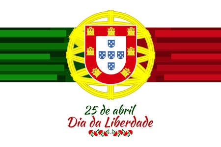 Translation: April 25, Freedom Day of Portugal. National Day of Portugal Vector Illustration. Suitable for greeting card, poster and banner. 版權商用圖片 - 168040924