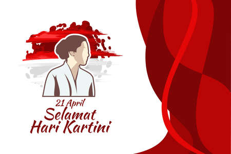 Translation: April 21, Happy Kartini Day. Vector Illustration. Suitable for greeting card, poster and banner. 版權商用圖片 - 168040920
