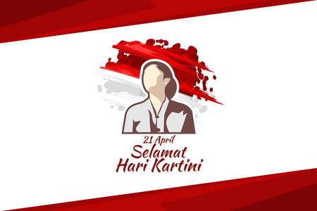 Translation: April 21, Happy Kartini Day. Vector Illustration. Suitable for greeting card, poster and banner. 版權商用圖片 - 168040926