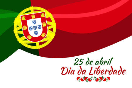 Translation: April 25, Freedom Day of Portugal. National Day of Portugal Vector Illustration. Suitable for greeting card, poster and banner. Vecteurs