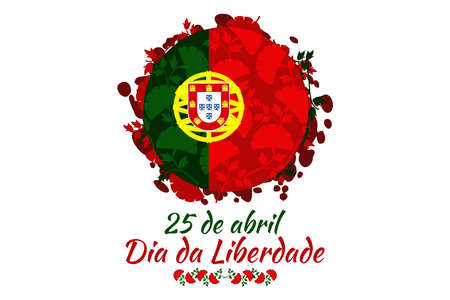 Translation: April 25, Freedom Day of Portugal. National Day of Portugal Vector Illustration. Suitable for greeting card, poster and banner.