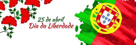 Translation: April 25, Freedom Day of Portugal. National Day of Portugal Vector Illustration. Suitable for greeting card, poster and banner. 向量圖像