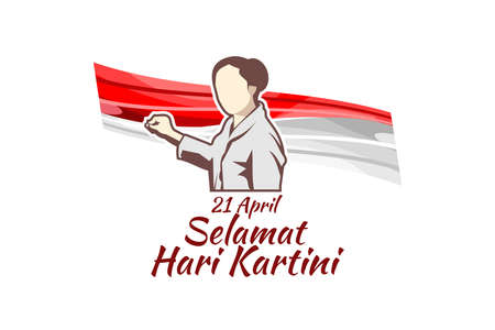 Translation: April 21, Happy Kartini Day. Vector Illustration. Suitable for greeting card, poster and banner. 向量圖像