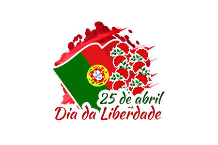 Translation: April 25, Freedom Day of Portugal. National Day of Portugal Vector Illustration. Suitable for greeting card, poster and banner. 版權商用圖片 - 168040138