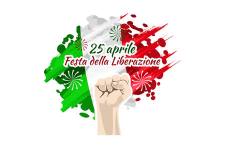 Translation: April 25, Liberation Day. National Day of Italy Vector Illustration. Suitable for greeting card, poster and banner. 版權商用圖片 - 168040927