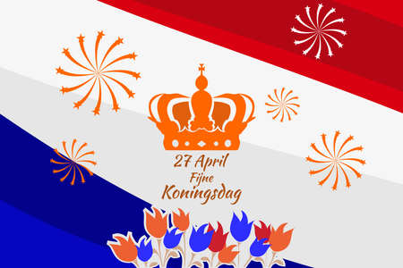 Translation: April 27, Happy King's Day. vector illustration. Suitable for greeting card, poster and banner. 向量圖像