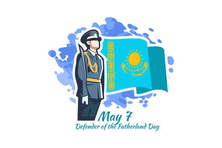 May 7, Defender of the Fatherland Day. Public holidays in Kazakhstan vector illustration. Suitable for greeting card, poster and banner. 向量圖像