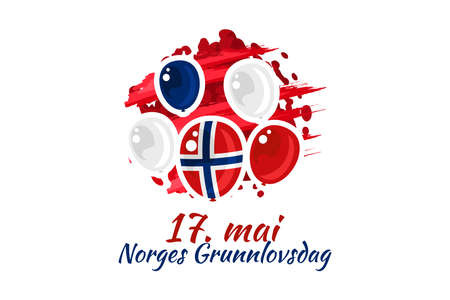 Translation: May 17, Norwegian Constitutional Day. Vector Illustration. Suitable for greeting card, poster and banner. 向量圖像