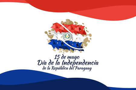 Translation: May 15, Independence Day of Republic of Paraguay. Independence day of Paraguay vector illustration. Suitable for greeting card, poster and banner 向量圖像