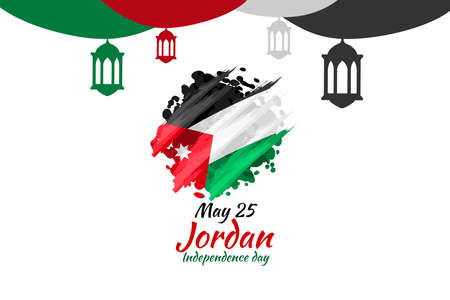 May 25 Kingdom of Jordan Independence Day vector illustration. Suitable for greeting card, poster and banner.