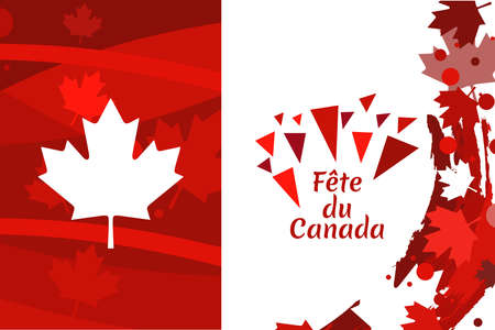 Translation: Canada Day. Happy Canada Day (fête du Canada) Maple Leaf Vector Illustration. Suitable for greeting card, poster and banner.