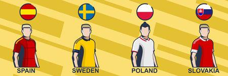 Football jersey 2021. Spain, Sweden, Poland, and Slovakia. Icon football jersey vector illustration.