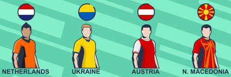 Football jersey 2021. Netherlands, Ukraine, Austria, and North Macedonia. Icon football jersey vector illustration.