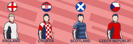 Football jersey 2021.England, Croatia, Scotland, and Czech Republic. Icon football jersey vector illustration. 向量圖像