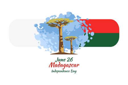 June 26 Independence Day of Madagascar vector illustration. Suitable for greeting card, poster and banner. 向量圖像