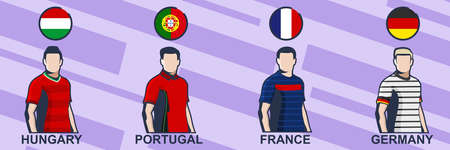 Football jersey 2021. Hungary, Portugal, France,  and Germany. Icon football jersey vector illustration.