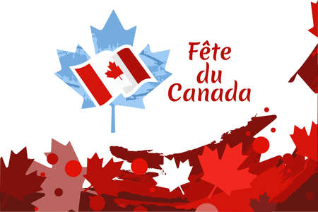 Translate: Canada Day. Happy Canada Day (fête du Canada) Maple Leaf Vector Illustration. Suitable for greeting card, poster and banner.