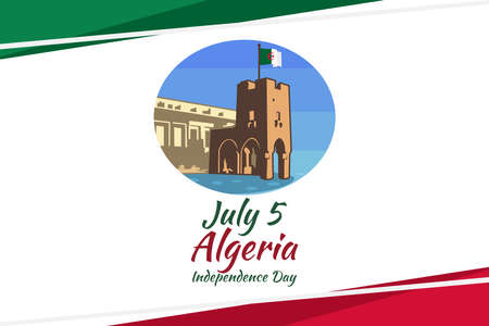 Fifth of July. Independence Day of Algeria vector illustration. Suitable for greeting card, poster and banner.