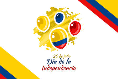 Translate: July 20, Independence day (dia de la independencia) of Colombia vector illustration. Suitable for greeting card, poster and banner.