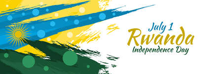 July 1, Independence Day of Rwanda vector illustration. Suitable for greeting card, poster and banner.