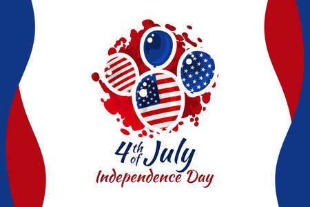 Independence day of the USA 4 th july. American flag colors paint stroke with illustration of liberty. Happy independence day, vector lllustration. Suitable for greeting card, poster and banner.