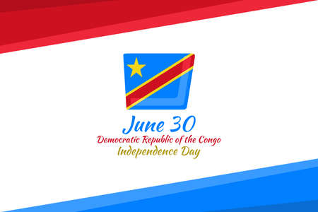 June 30, Independence Day of  Democratic Republic of the Congo vector illustration. Suitable for greeting card, poster and banner.