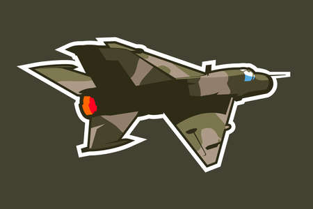 Russian supersonic jet fighter and interceptor aircraft icon vector illustration