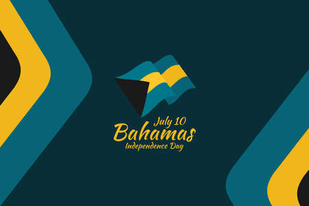 July 10, Independence Day of Bahamas vector illustration. Suitable for greeting card, poster and banner.