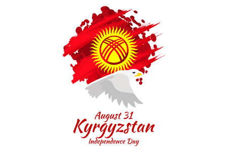 August 31, Independence Day of Kyrgyzstan vector illustration. Suitable for greeting card, poster and banner. 向量圖像