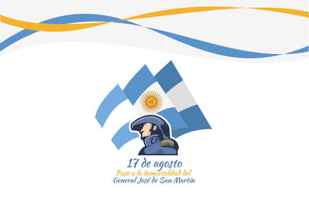 Translate: August 17, Passage to the Immortality of General José de San Martín. San Martin's day vector illustration. Suitable for greeting card, poster and banner. Vektorgrafik