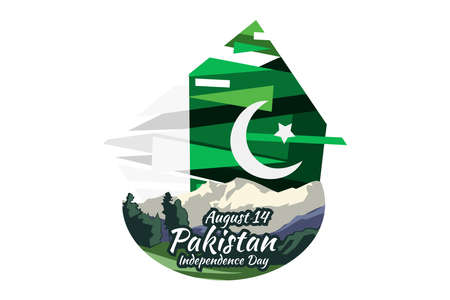August 14, Happy Pakistan Independence Day vector illustration. Suitable for greeting card, poster and banner 向量圖像