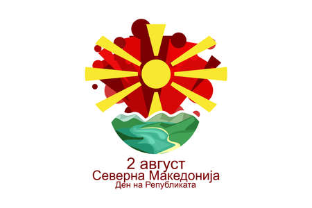 Translate: August 2, North Macedonia, Republic Day. vector illustration. Suitable for greeting card, poster and banner.