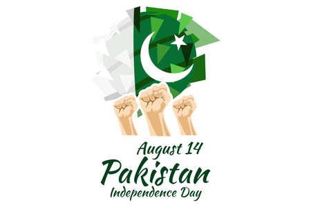 August 14, Happy Pakistan Independence Day vector illustration. Suitable for greeting card, poster and banner.