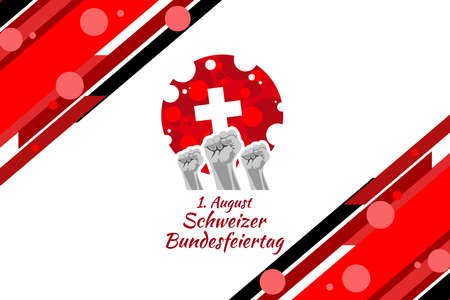 Translate: August 1, Swiss national day. Vector illustration. Suitable for greeting card, poster and banner.