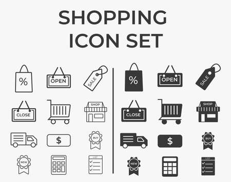 Shopping set icon, logo isolated on white background. Shop, shipping and discounts, shopping Cart, discounts, new arrivals.elegant and trendy