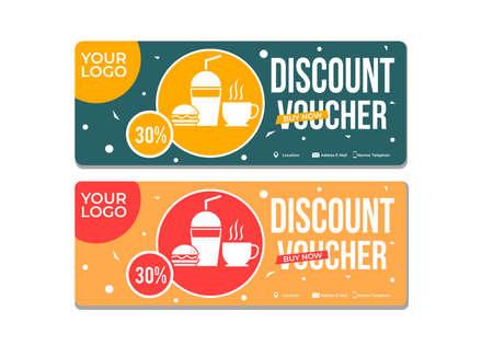 discount voucher template for your restaurant business Vector Illustration