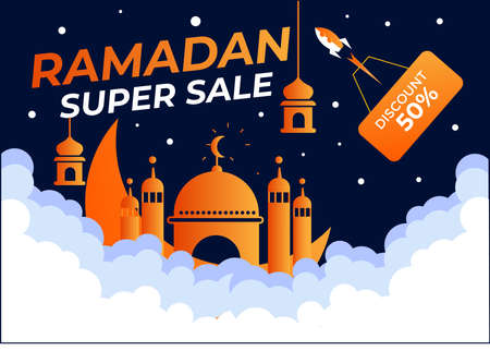 Ramadan super sale banner template.design with space style