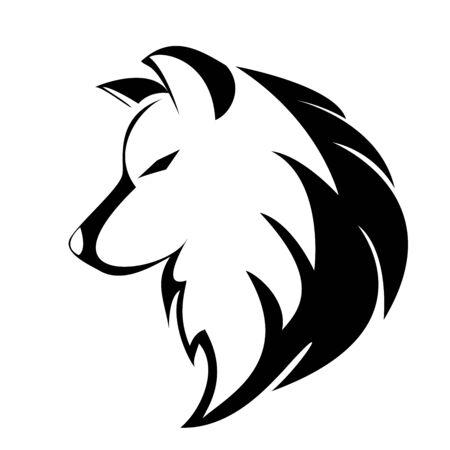 diseño de logotipo de vector de lobo blanco negro Logos