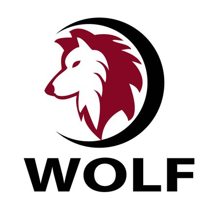 wolf and circle vector logo design Ilustrace